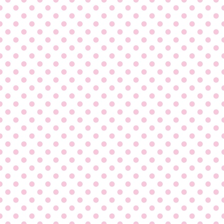 Illustration pour Seamless pattern with pastel pink polka dots on a white background  - image libre de droit