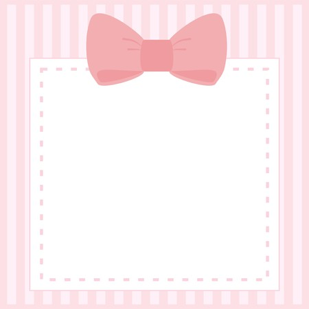 Ilustración de Vector card or invitation for baby shower, wedding or birthday party with stripes and sweet bow on cute pink background with white space to put your own text  - Imagen libre de derechos