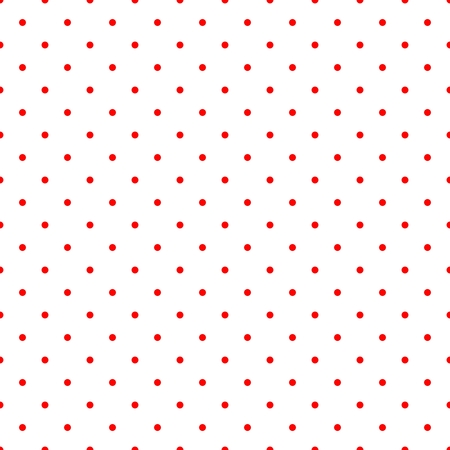 Illustration pour Retro vector tile pattern with small red polka dots on white background for decoration wallpaper - image libre de droit