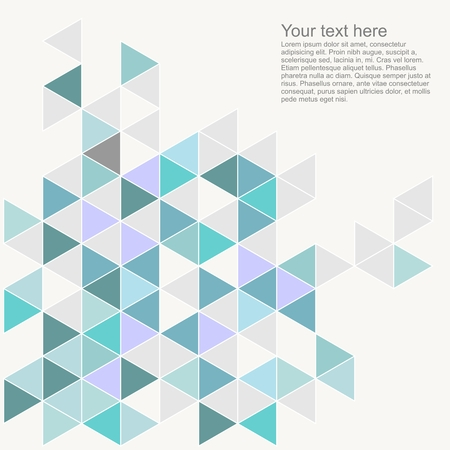 Illustration for Pastel colorful vector background with empty space. Grey, blue, mint green and violet triangle geometric mosaic card document template. Hipster flat surface design aztec chevron zigzag print - Royalty Free Image
