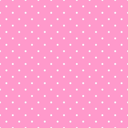 Ilustración de Seamless vector pattern with white polka dots on a tile pastel pink background - Imagen libre de derechos