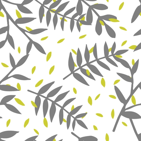 Illustration pour Tile tropical vector pattern with exotic leaves on white background - image libre de droit