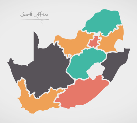 Illustration pour South Africa Map with states and modern round shapes - image libre de droit