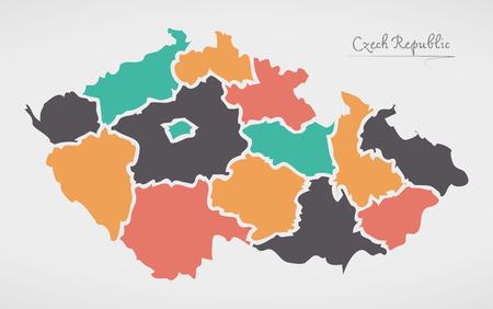 Illustration pour Czech Republic Map with states and modern round shapes - image libre de droit