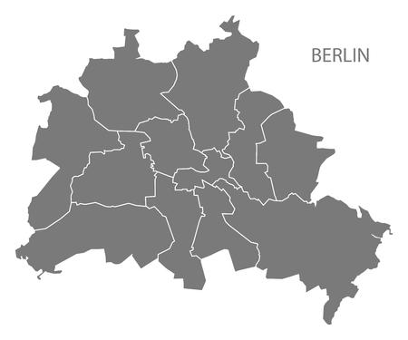 Illustration pour Berlin city map with boroughs grey illustration silhouette shape - image libre de droit