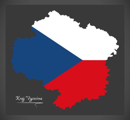 Illustration pour Kraj Vysocina map of the Czech Republic - image libre de droit