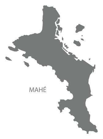 Illustration pour Mahe Seychelles Map grey illustration silhouette - image libre de droit