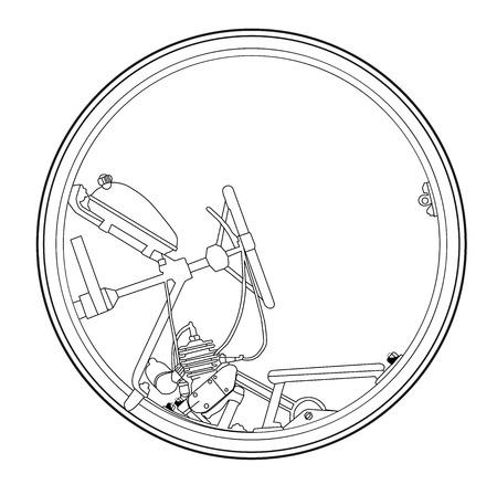 Ilustración de retro monowheel illustration on white background. - Imagen libre de derechos