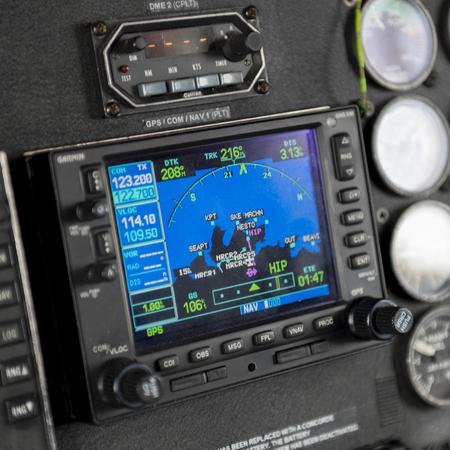 Foto de Sikorsky helicopter cockpit instrument panel, Skeena-Queen Charlotte Regional District, Haida Gwaii, Graham Island, British Columbia, Canada - Imagen libre de derechos