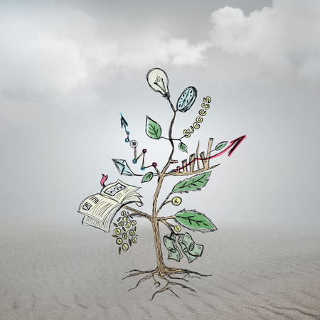 Concept of Growing company with sketch of a tree with business symbols