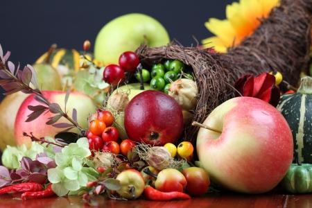 Autumn cornucopia - symbol of food and abundance
