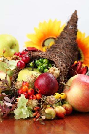 Photo for Autumn cornucopia - symbol of food and abundance - Royalty Free Image