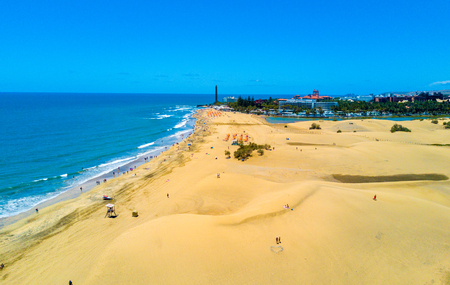 Photo for Aerial view of the Maspalomas dunes on Gran Canaria island. - Royalty Free Image
