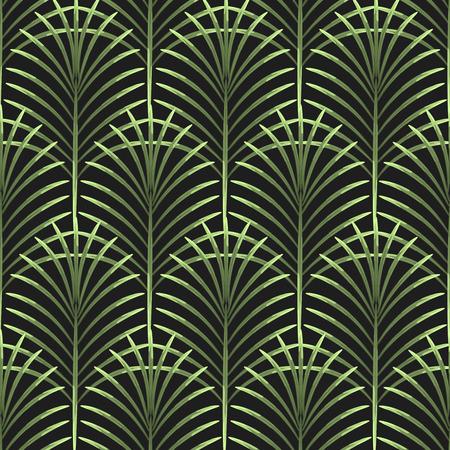 Illustration pour Palm leaves vector seamless pattern. Tropical leaf background, jungle tree branch. Botanical fan ornament on black. - image libre de droit