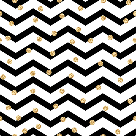 Illustration for Chevron zigzag black and white seamless pattern with golden shimmer polka dots. Vector geometric monochrome stripe with glitter spots. - Royalty Free Image