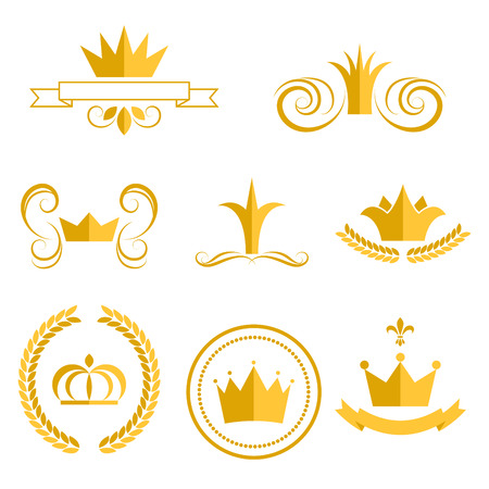Illustration for Gold crown logos and badges clip art vector set. King or queen crowns flat style icons. - Royalty Free Image