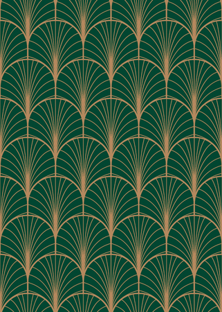 Illustration for Art deco geometric seamless vector pattern, Gold and green peacock abstract feathers texture. - Royalty Free Image