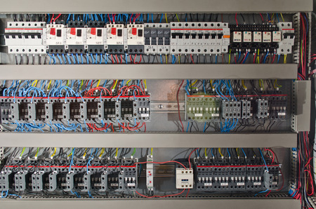 Photo pour Electrical panel at a assembly line factory. Controls and switches - image libre de droit