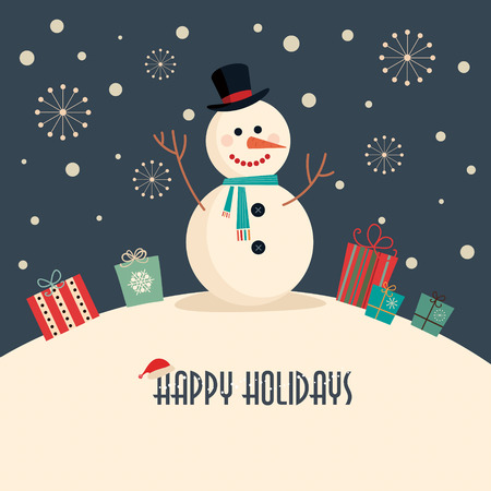 Illustration for Christmas card with snowman - Royalty Free Image