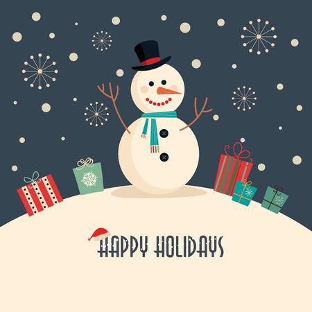 Ilustración de Christmas card with snowman - Imagen libre de derechos