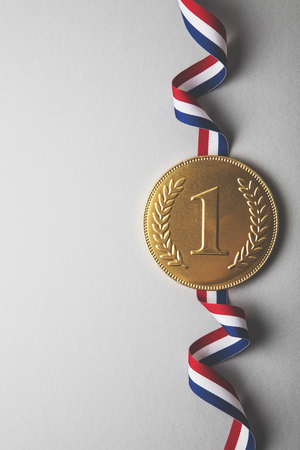Photo for Gold first place winners medal. Success achievement concept - Royalty Free Image