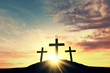Photo for Religious cross silhouette against a bight sunrise sky. 3D Rendering - Royalty Free Image