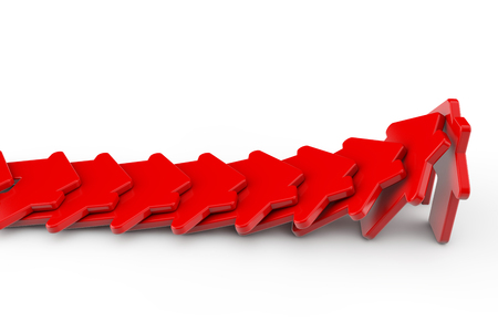 Foto de A row of red houses falling like dominos. Housing problem concept. 3D Rendering - Imagen libre de derechos