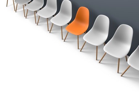 Photo pour Row of chairs with one odd one out. Job opportunity. Business leadership. recruitment concept. 3D rendering - image libre de droit