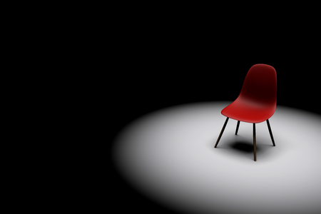 Foto de Red chair in a bright spotlight. Business leadership. recruitment concept. 3D rendering - Imagen libre de derechos