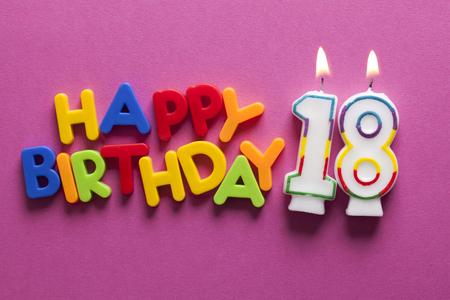 Photo pour Number 18 happy birthday celebration candle - image libre de droit