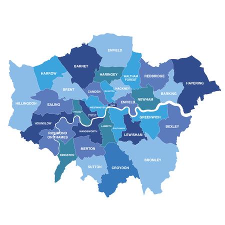 Illustration pour Greater London map showing all boroughs - image libre de droit