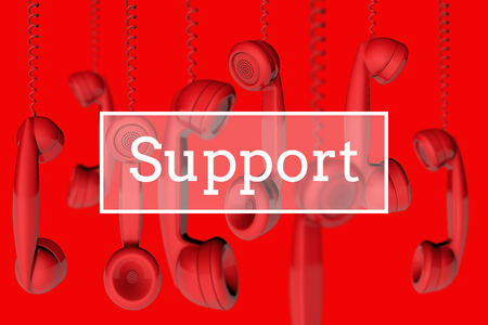 Photo for Hanging telephone handsets customer support message. 3D rendering - Royalty Free Image