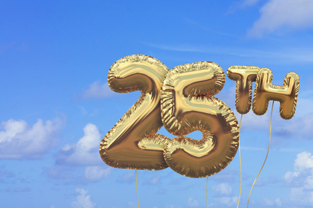 Foto de Gold number 25 foil birthday balloon against a bright blue summer sky. Golden party celebration. 3D Rendering - Imagen libre de derechos