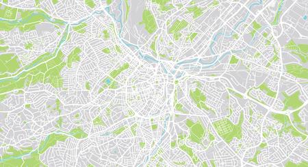 Illustration pour Urban vector city map of Sheffield, England - image libre de droit