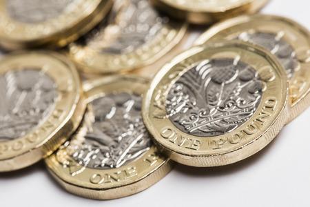 Foto de British sterling one pound coin currency - Imagen libre de derechos