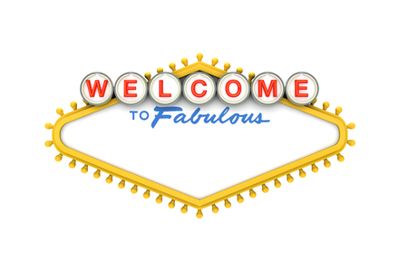 Foto per Welcome to Las Vegas classic sign with copy space. 3D Rendering - Immagine Royalty Free