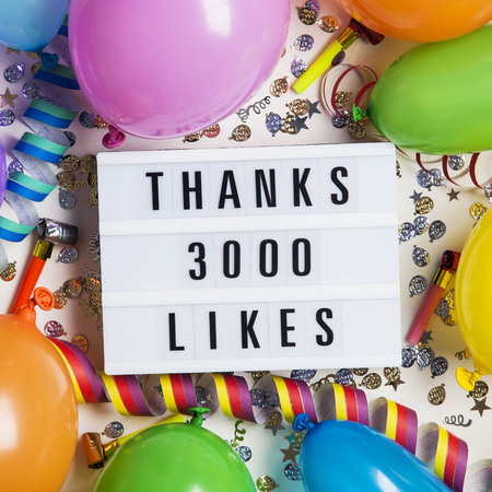 Photo pour Thanks 3 thousand likes social media lightbox background. Celebration of followers, subscribers, likes. - image libre de droit
