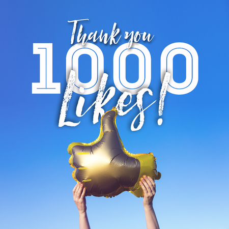 Photo pour Thank you 1000 like gold thumbs up like balloons social media template banner - image libre de droit