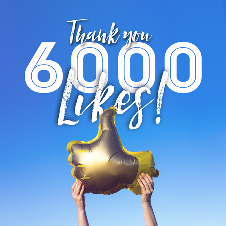 Photo pour Thank you 6000 likes gold thumbs up like balloons social media template banner - image libre de droit