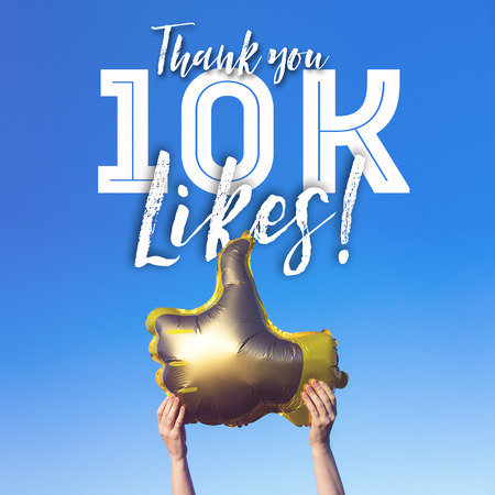 Photo pour Thank you 10 thousand likes gold thumbs up like balloons social media template banner - image libre de droit