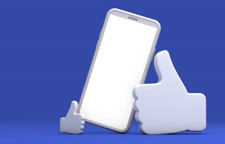 Photo for Black smartphone screen with thumbs up symbol. 3D Rendering - Royalty Free Image