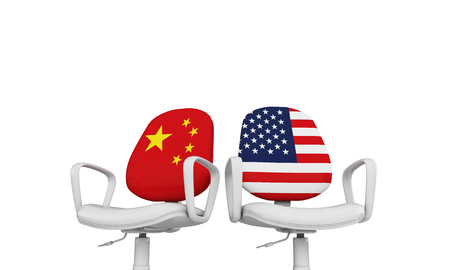 Photo pour China and USA business chairs. Internationl relationship concept. 3D Rendering - image libre de droit