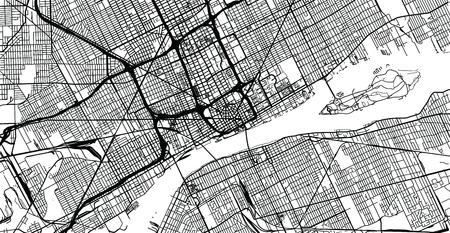 Illustration pour Urban vector city map of Detroit, Michigan, United States of America - image libre de droit