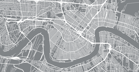 Illustration pour Urban vector city map of New Orleans, Louisiana, United States of America - image libre de droit