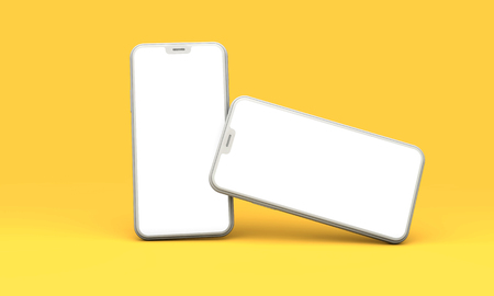 Photo pour Smartphone mockup with blank white screen on a yellow background. 3D Render - image libre de droit