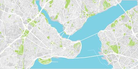 Illustration pour Urban vector city map of Istanbul, Turkey - image libre de droit