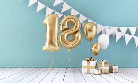 Photo for Happy 18th birthday party celebration balloon, bunting and gift box. 3D Render - Royalty Free Image