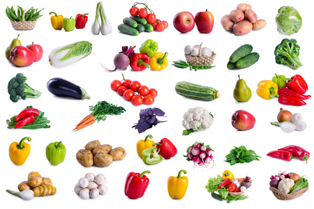 Photo for collection of lot vegetables isolated on white background. large depth of field of the frame - Royalty Free Image