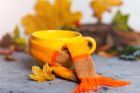 autumn fall Yellow cup hot steaming cup of coffee with warm scarf and colorful leaves over grey background selective focus