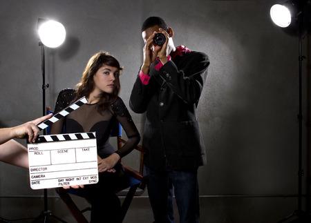 Photo pour film industry producers or directors in a sound stage - image libre de droit